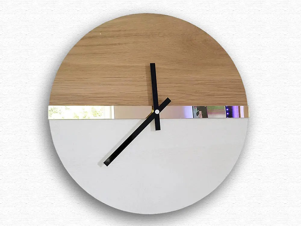 Large Wall Clock, Mirror Gold, 100% Natural Wood, Wood