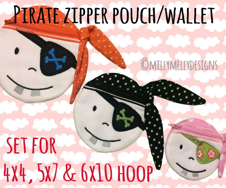 PIRATE wallet pouch - SET for the 4x4, 5x7 & 6x10 hoop - ITH - In The Hoop - Machine Embroidery Design File, digital download
