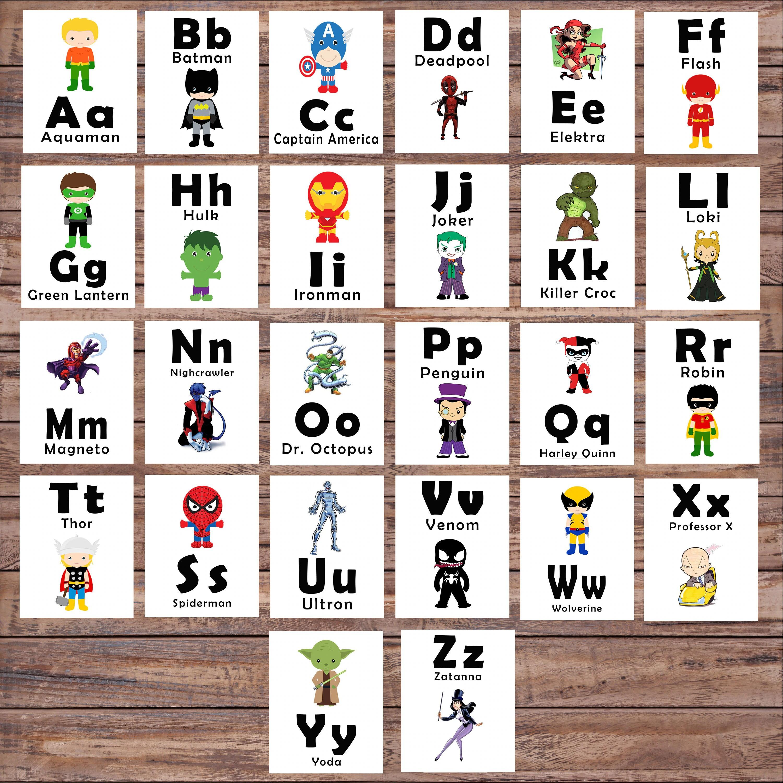 Abc Printable Flash Cards Learning Toys Superhero Printable