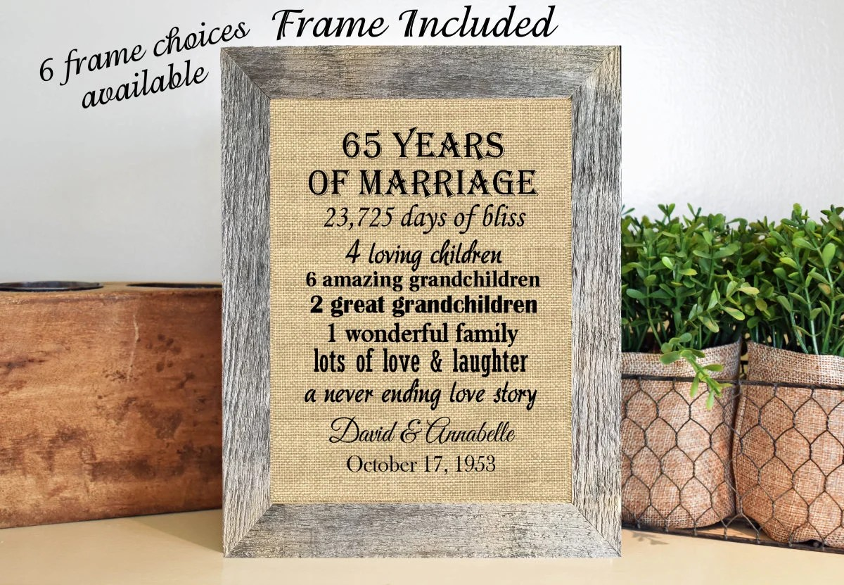 FRAMED 65th Wedding Anniversary Gift/65th Anniversary Gifts/65