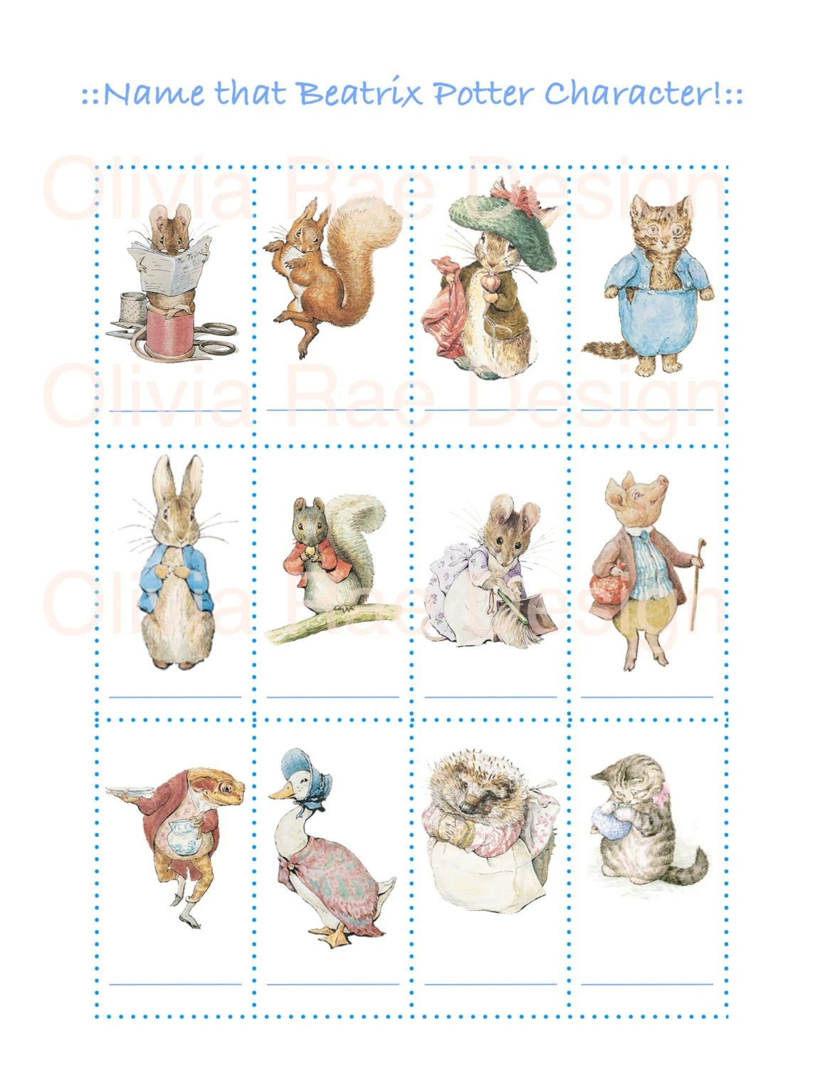 Peter Rabbit Baby Shower Game Name That Beatrix Potter