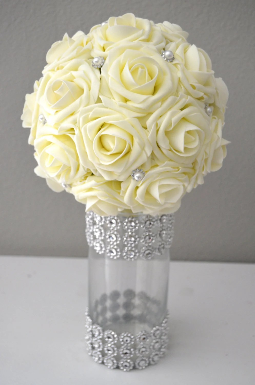 IVORY Real Touch Roses Flower Ball With Bling Pearl Brooch