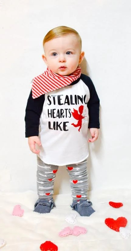 Baby Boy Valentines Day Shirt Stealing Hearts Like Cupid