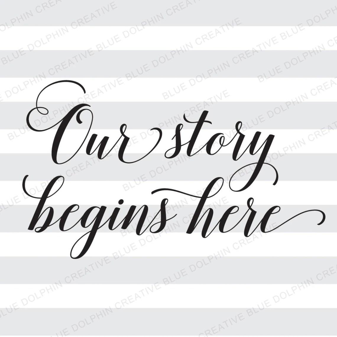 Download Our Story Begins Here SVG pdf png / Wedding sign art