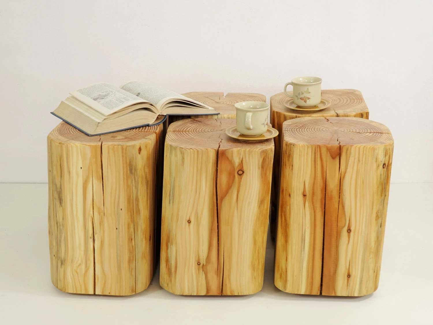 Wooden Block Table Tree Trunks Set Timber Wood Table