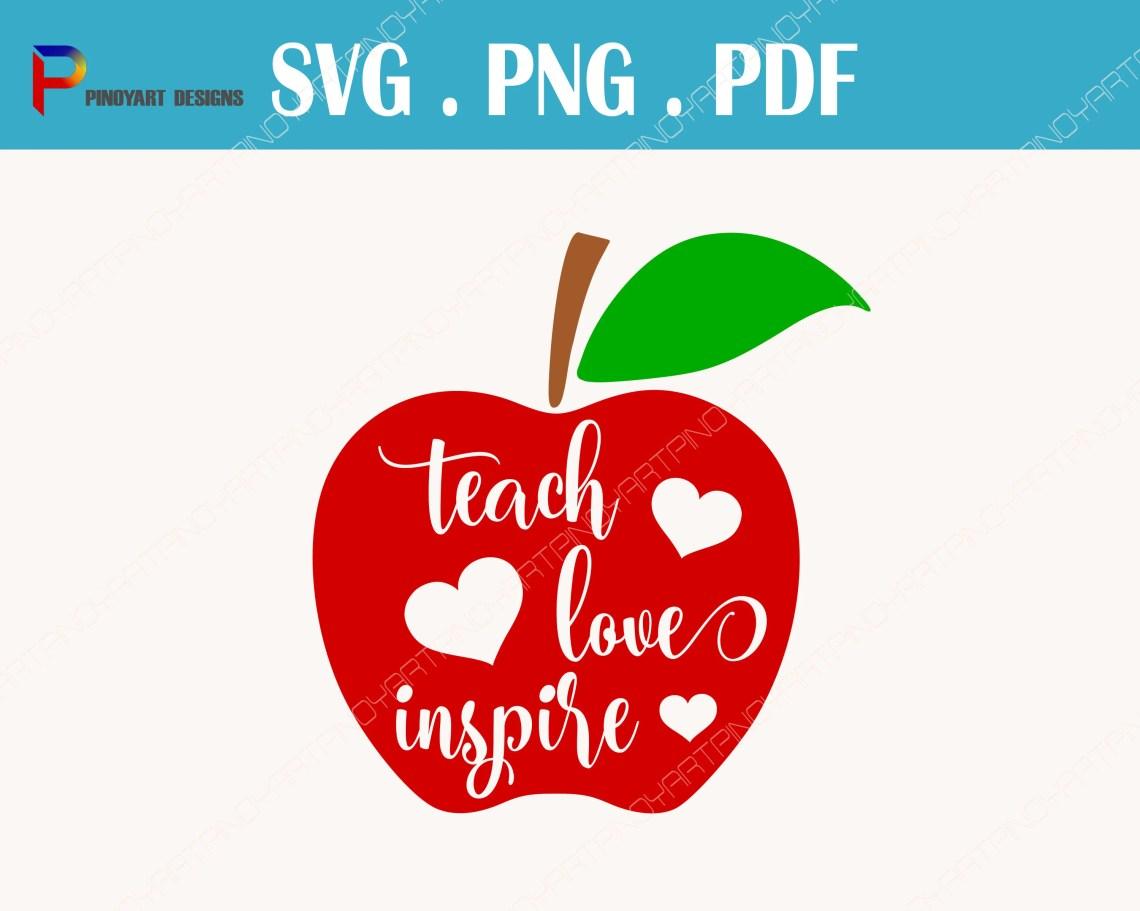 Download teacher svg, teaching svg, teach love inspire svg, teacher ...