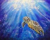Sea Turtle in Acrylic Pai...