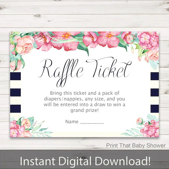 Baby Shower Diaper Raffle Tickets Floral Invitation Insert