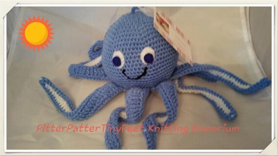 Olly / Olive the Octopus - Crocheted baby toy with Rattle