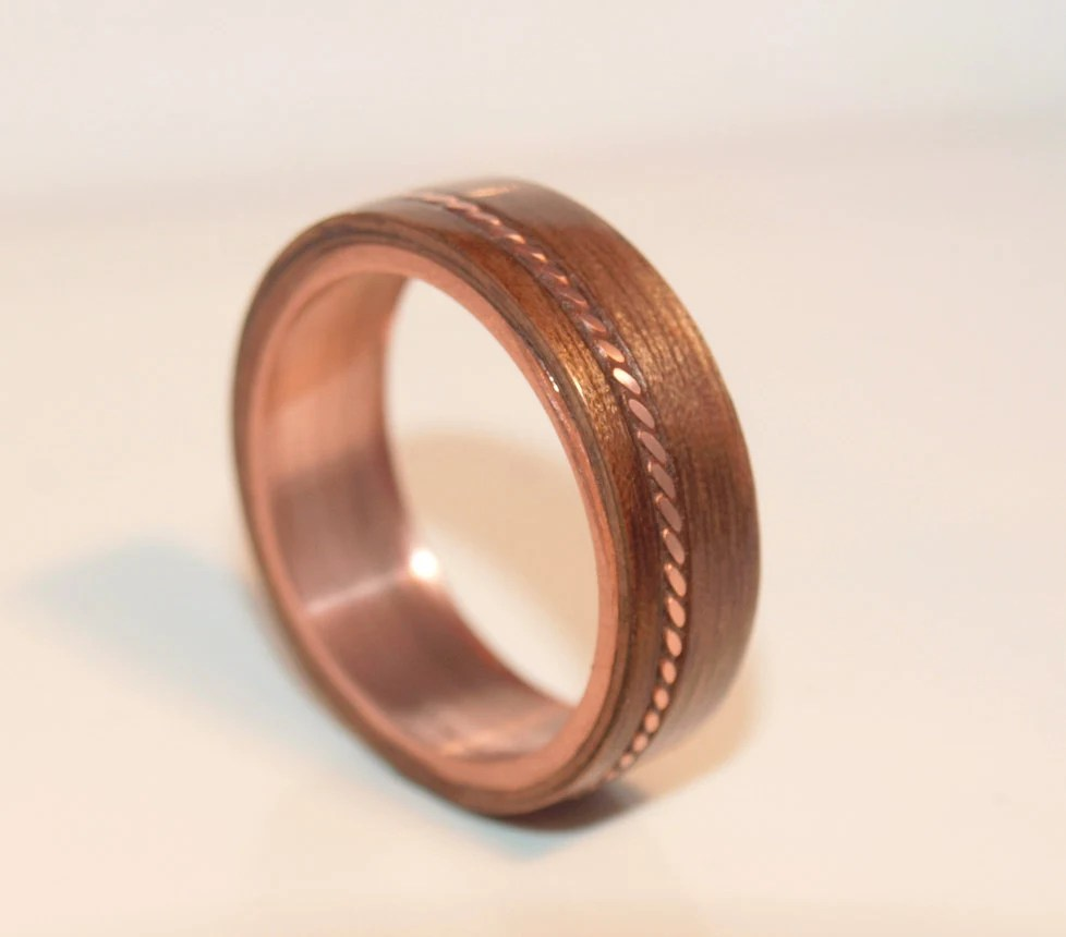 Wooden Rings Bentwood Twist Copper And Walnut Inlay Rings
