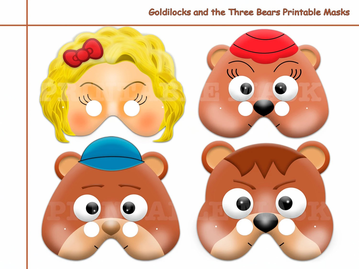 Unique Goldilocks And The Three Bears Printable Masks