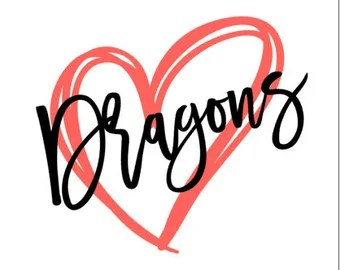 Download Dragon Love Iron On Patch Intertwined Dragons Heart Shaped