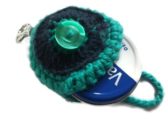 Green & Navy Keyring/Keychain Vaseline Tin Holder.