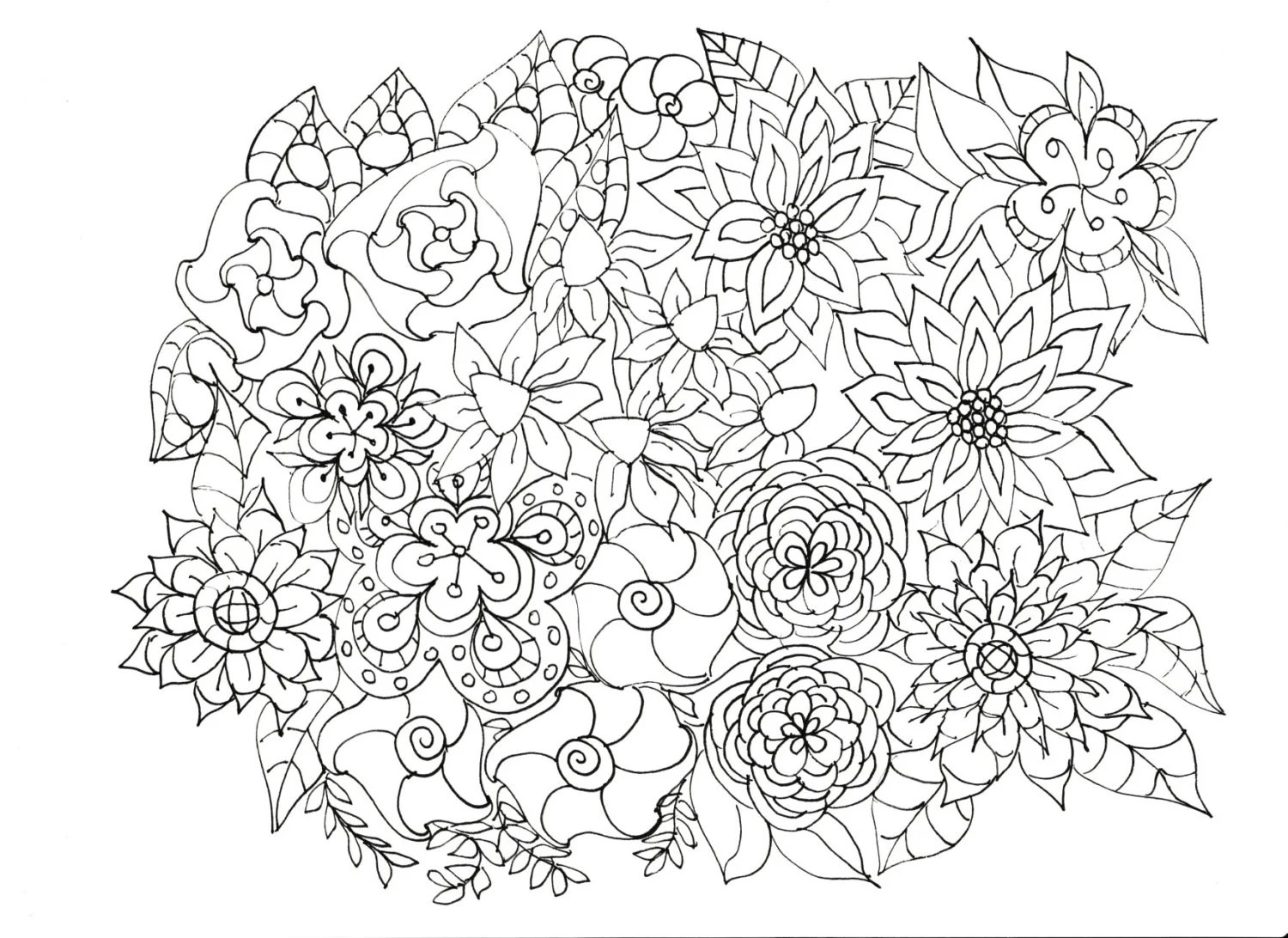 Adult Coloring Pages Flowers Plants Garden | free printable coloring pages for adults flowers