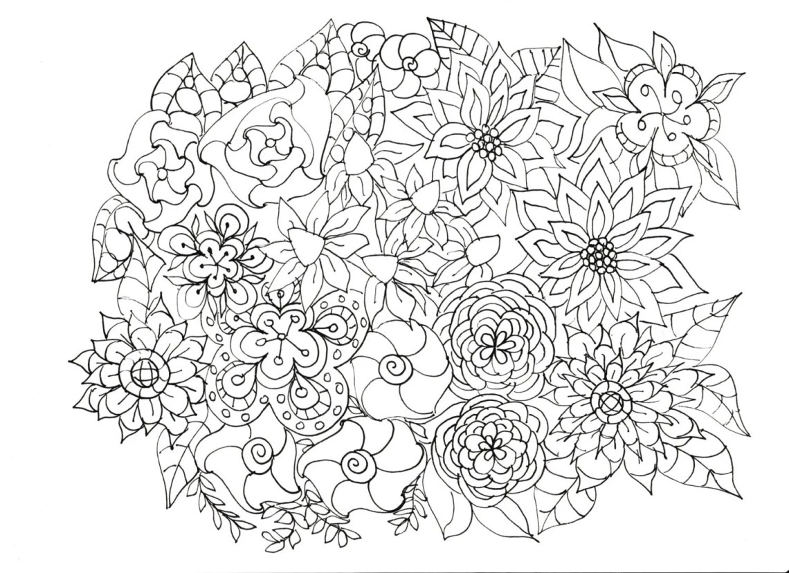 Adult Coloring Pages Flowers Plants Garden | coloring sheets for adults flowers