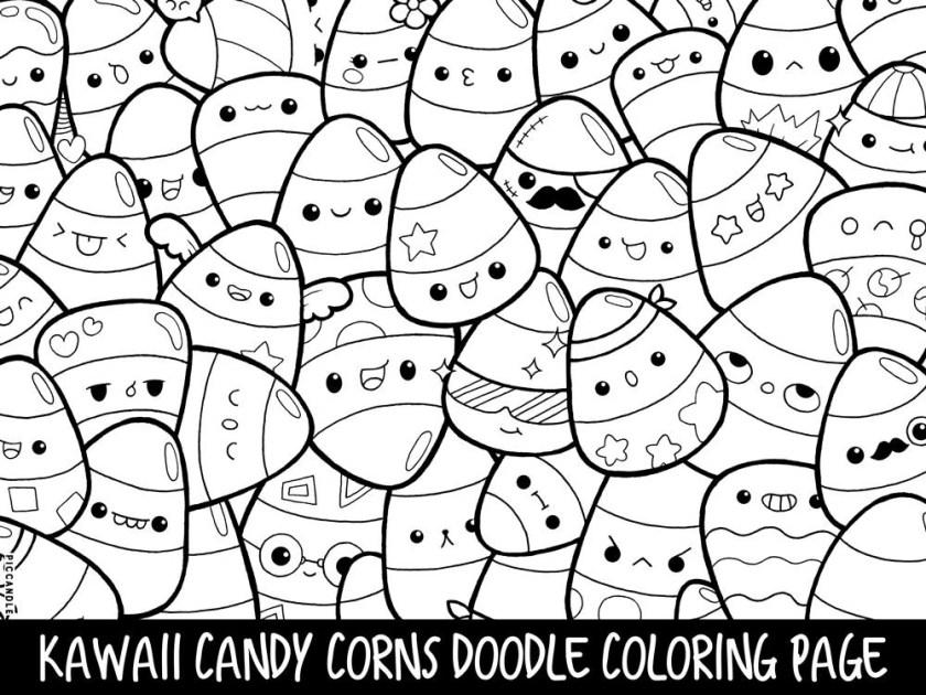 candy corns doodle coloring page printable cute/kawaii