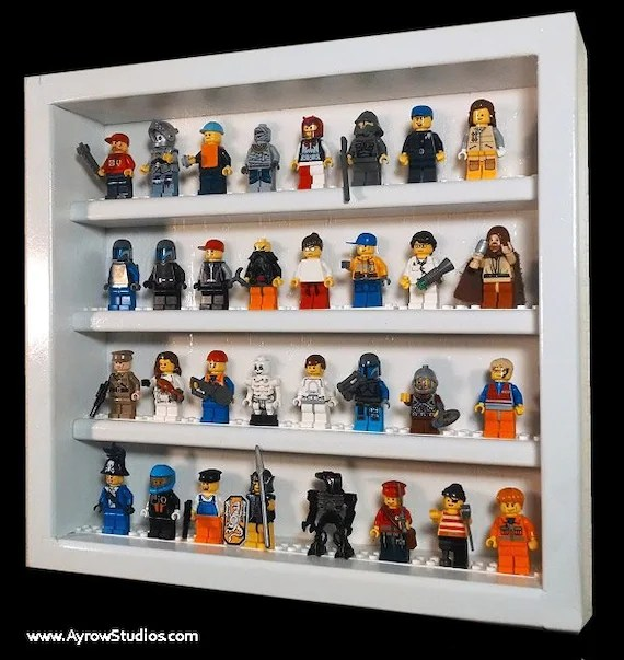 Hardwood Minifigure Display Case - Holds 32