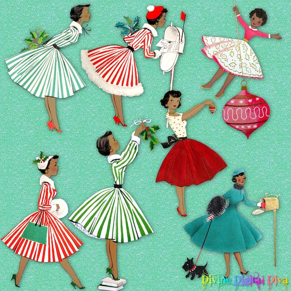 1950s African American Retro Christmas Housewives Vintage