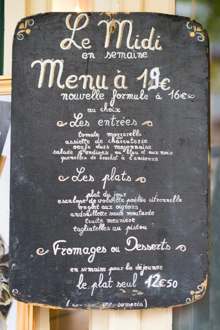 Paris Chalkboard Photography Menu Sign Fine Art Photography
