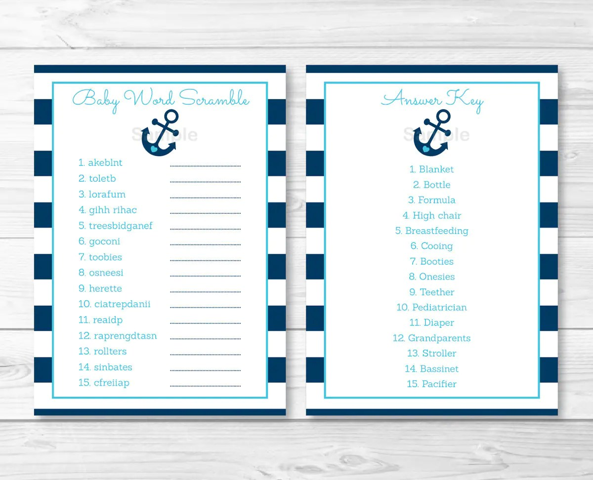 Anchor Baby Shower Word Scramble Anchor Baby Shower