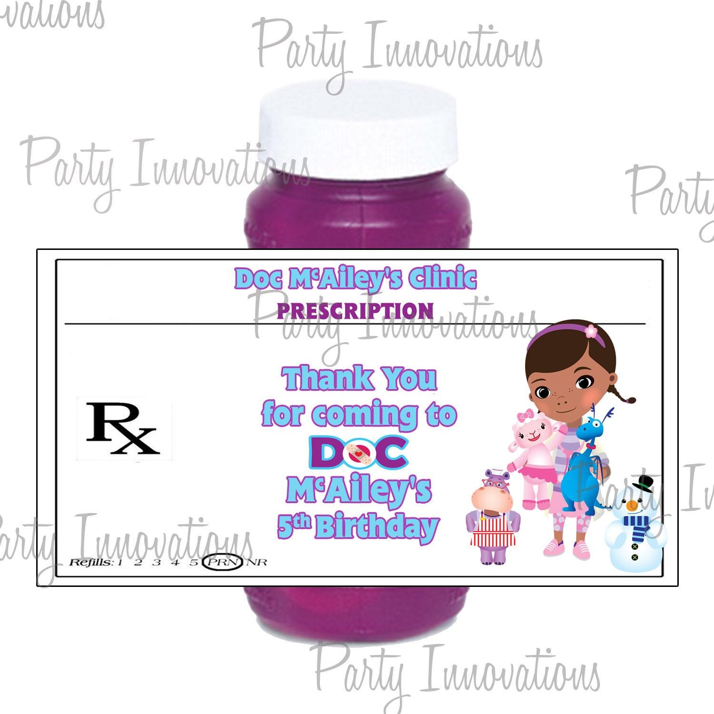 Printable Doc Mcstuffins Bubble Bottle Labels