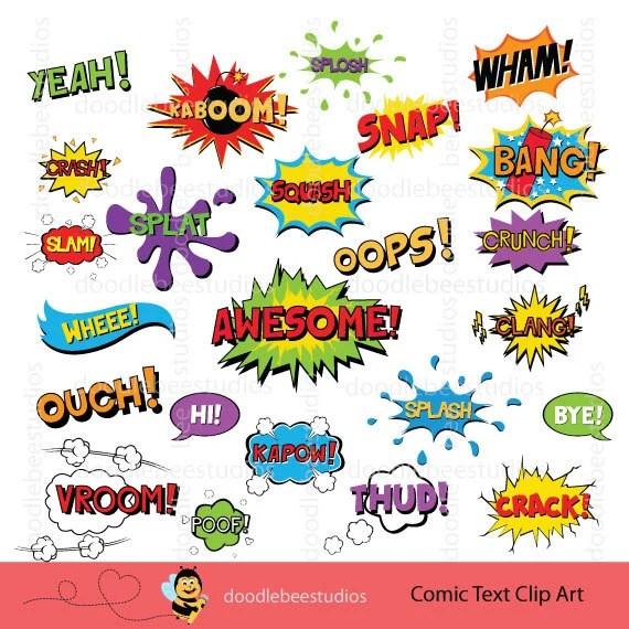 Comic Book Clipart Superhero Text Clipart Comic Text Clip