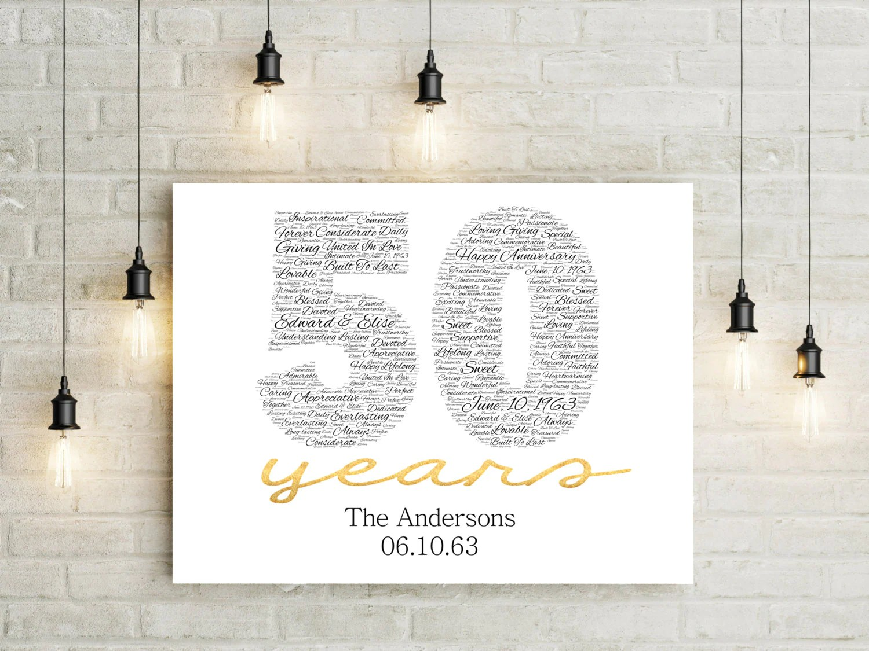 50th Anniversary Gift CANVAS Golden Wedding Anniversary Gift