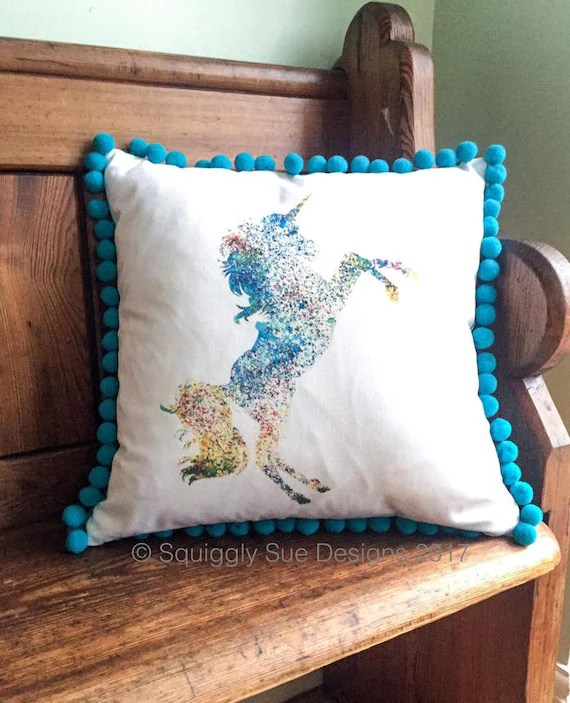 Handmade Multi Coloured Unicorn Print Cushion
