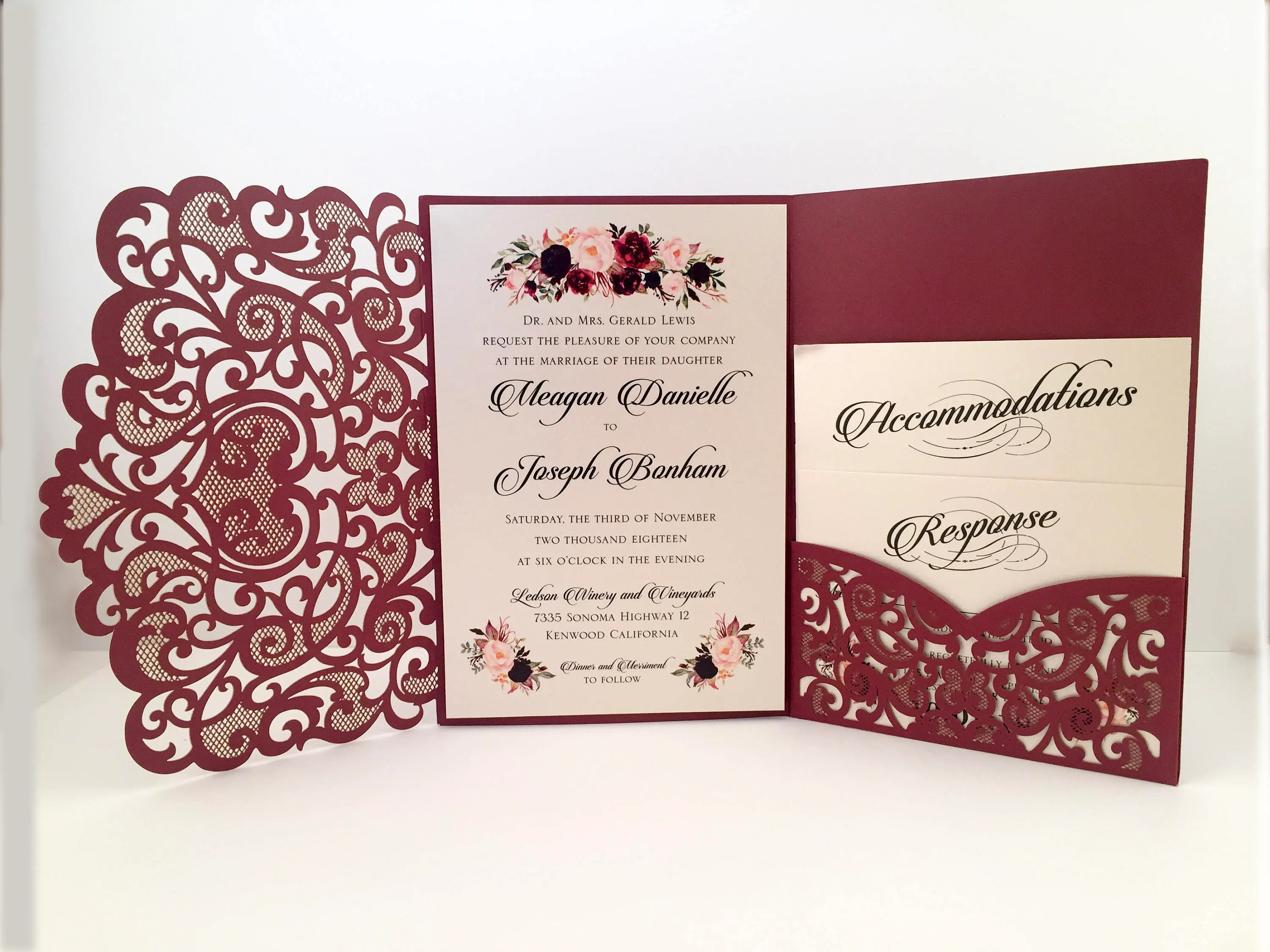 Blush Laser Cut Wedding Invitations