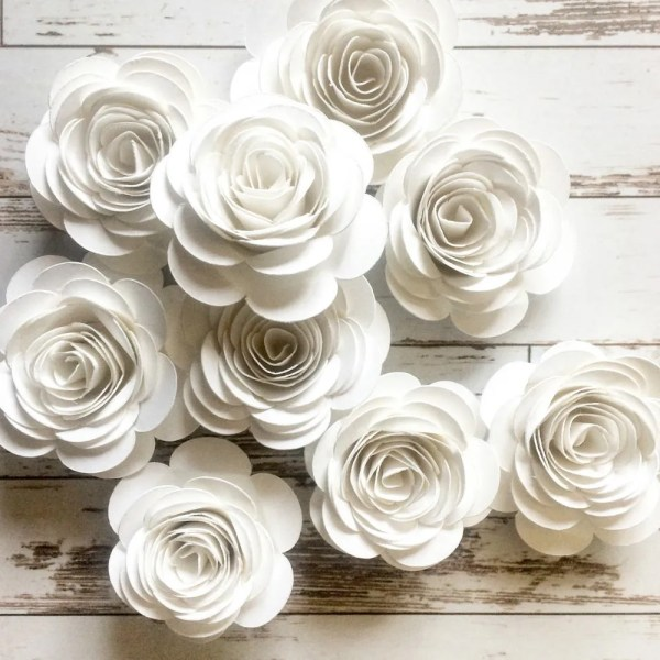 Bridal party flowers   Etsy White Paper Flowers  Loose Flowers  Rolled Paper Flowers  White Party  Decorations  Wedding Table Decor  Bridal Shower Party  Summer Wedding