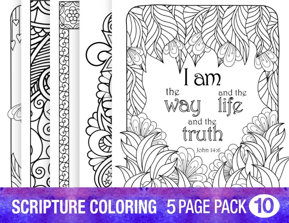 5 bible verse coloring pages set floral diy adult prayer, friend loves all times coloring page