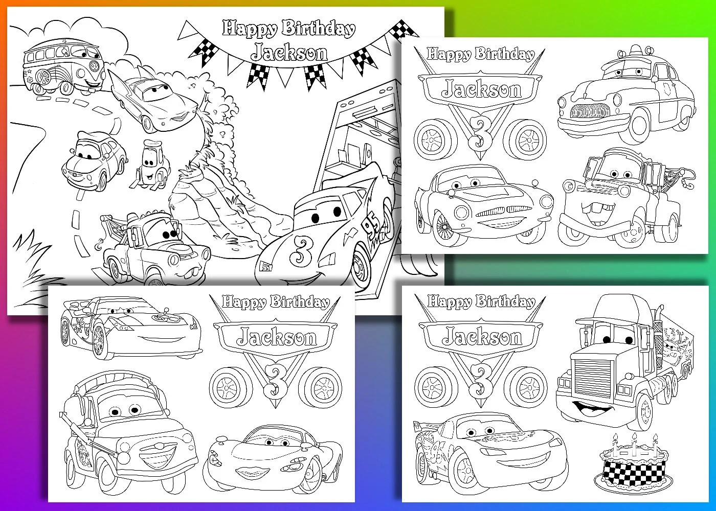 Personalized Disney Cars Birthday Party Coloring Pages
