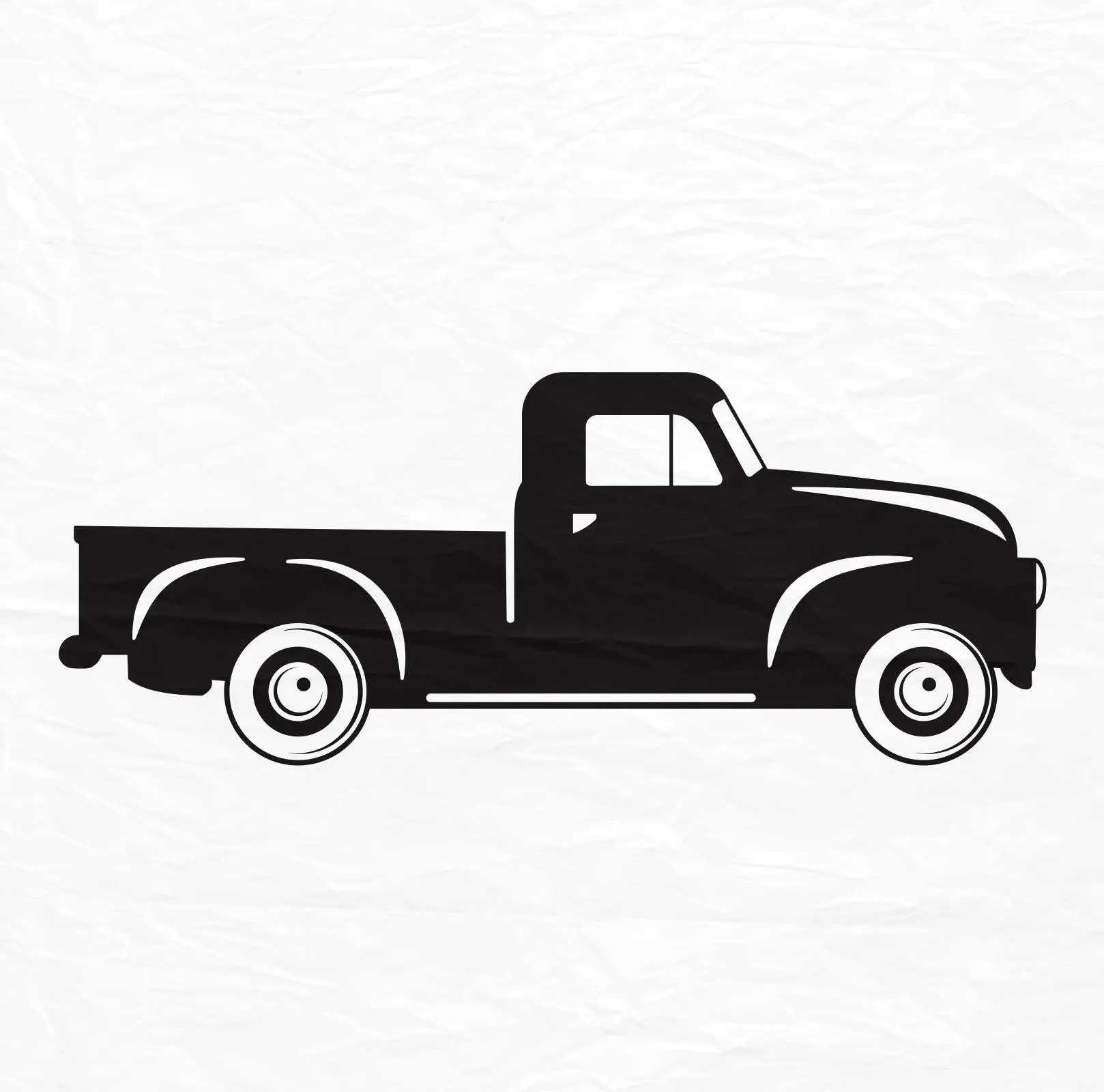 Old Pickup Truck Silhouette Svg