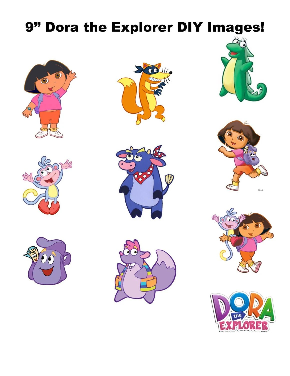 9 Digital Dora The Explorer Centerpieces Large Size