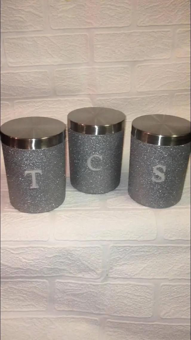 Silver Tea Coffee Sugar Canisters Silver Glitter Silver