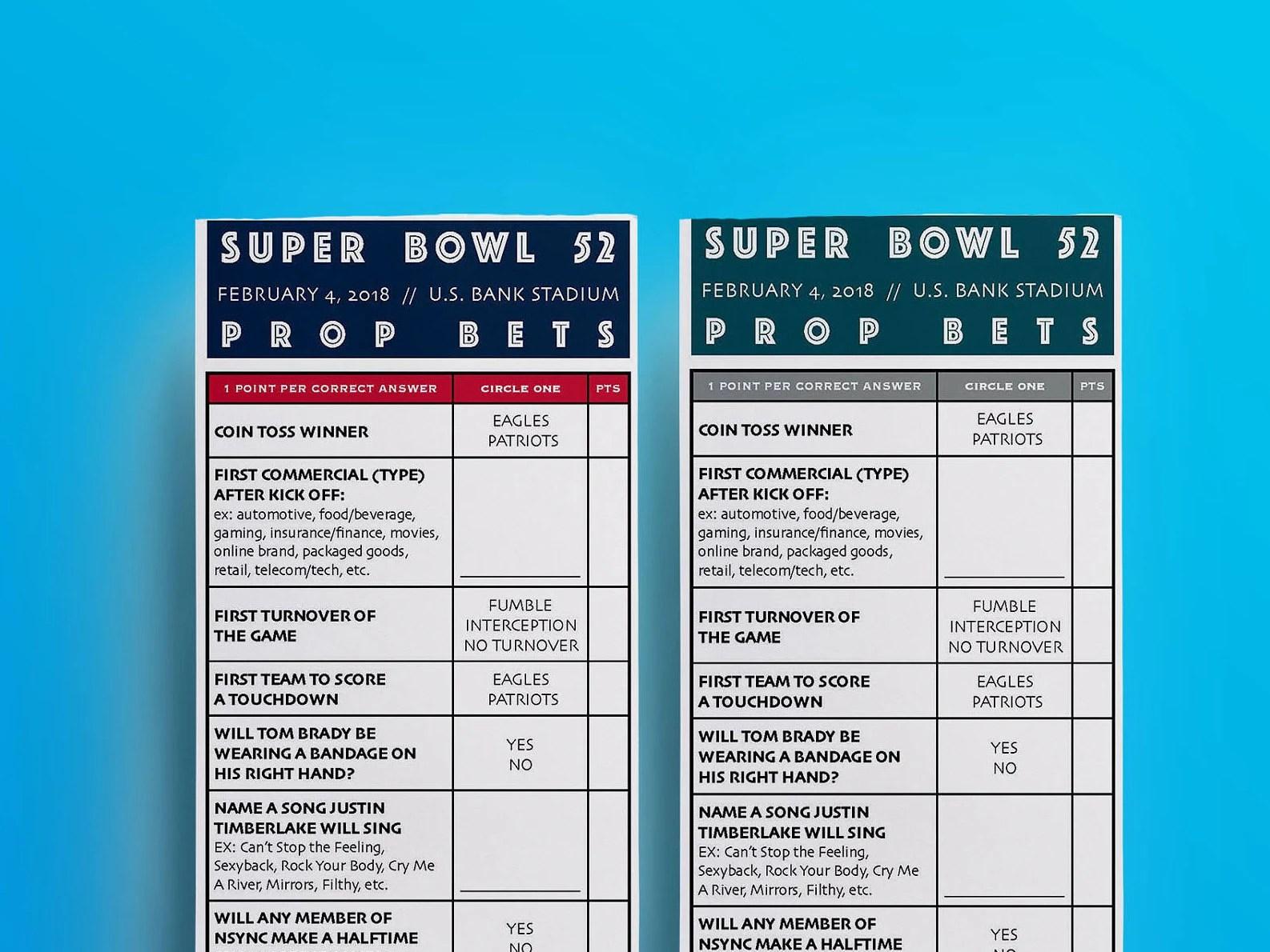 Super Bowl 52 Prop Bet Pool Game Patriots Eagles