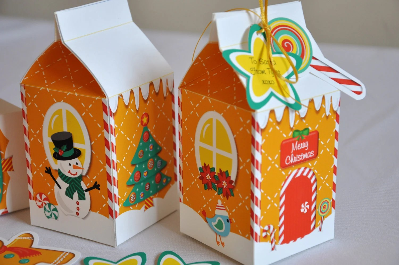 Christmas Holiday Gingerbread House Milk Carton Favor Treat