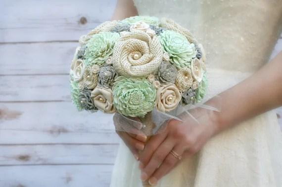 Gray Mint Wedding Bouquet // Mint Green Ivory Cream Bridal
