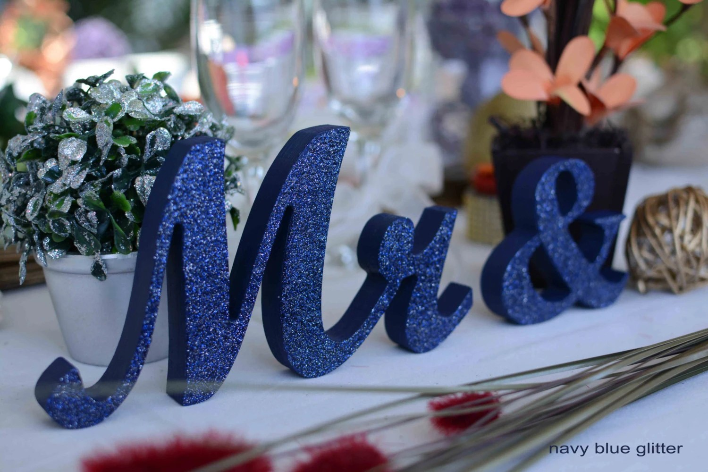 Navy Blue Glitter Mr. & Mrs. Wood Sign Wooden