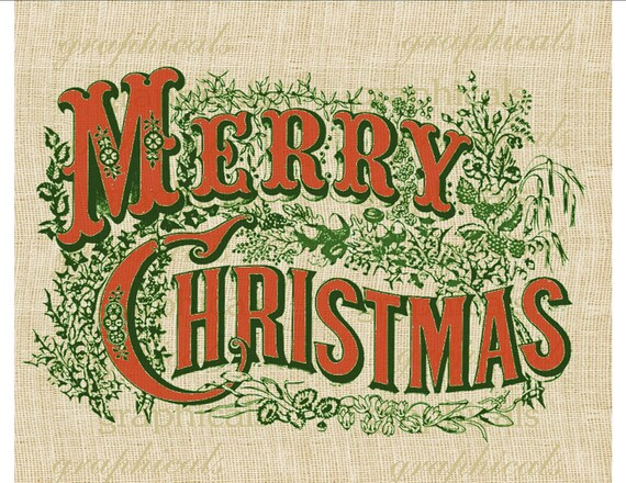 Currier Amp Ives Merry Christmas Red Green Instant Digital