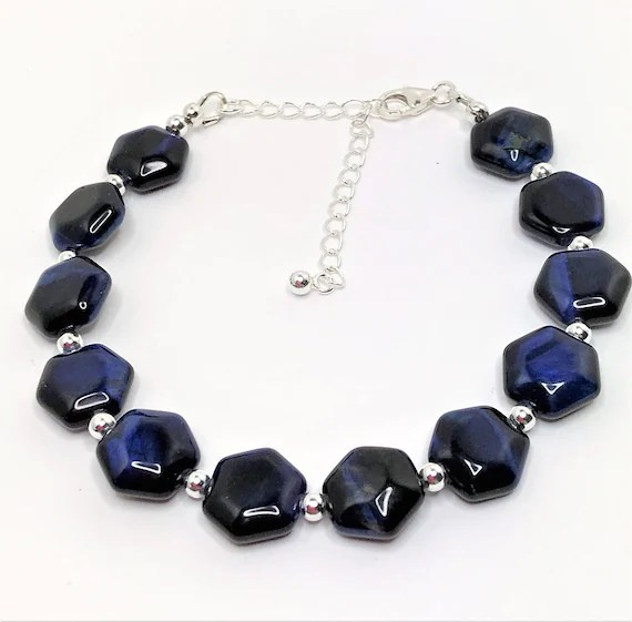 Blue Tigers Eye Gemstone Bracelet