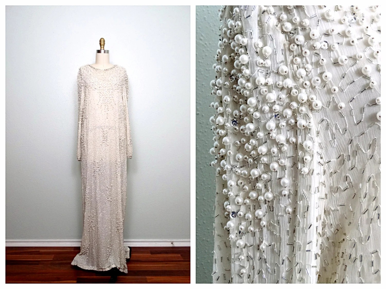 Vintage Pearl Beaded Wedding Dress / Ivory Silk Glass Beaded