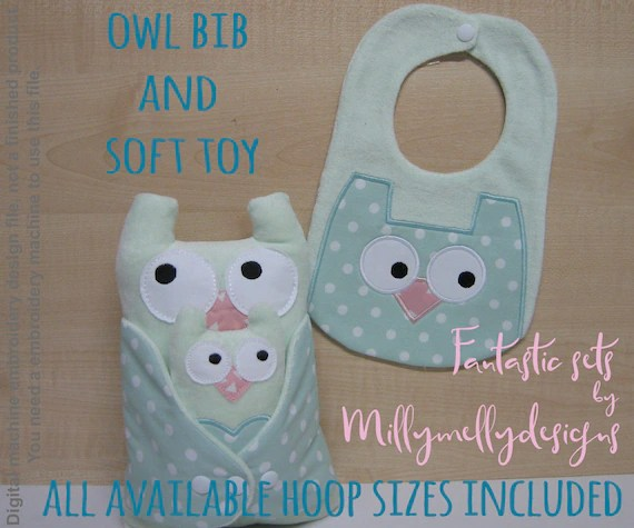 OWL SET - all available hoop sizes included - Baby Toy Blanket - ITH - In The Hoop - Machine Embroidery Design File, digital download