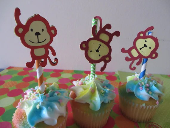 Monkey Party Pick Cupcake Toppers Hand Punched Decoration
