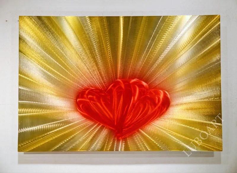 36x24 Red Yellow Wall Decor Aluminum Metal Art Painting