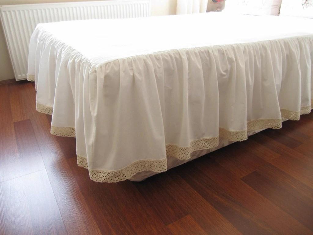 Ivory Cotton Bedskirt Custom Drop 14 18 20 22 Inch Queen King