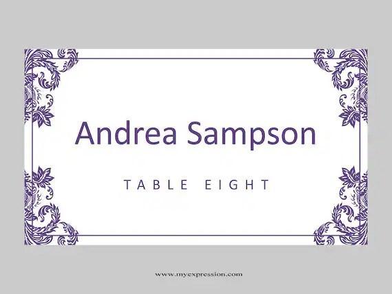 Hochzeit Tischkarten Vorlage Gefaltet Lila Damast