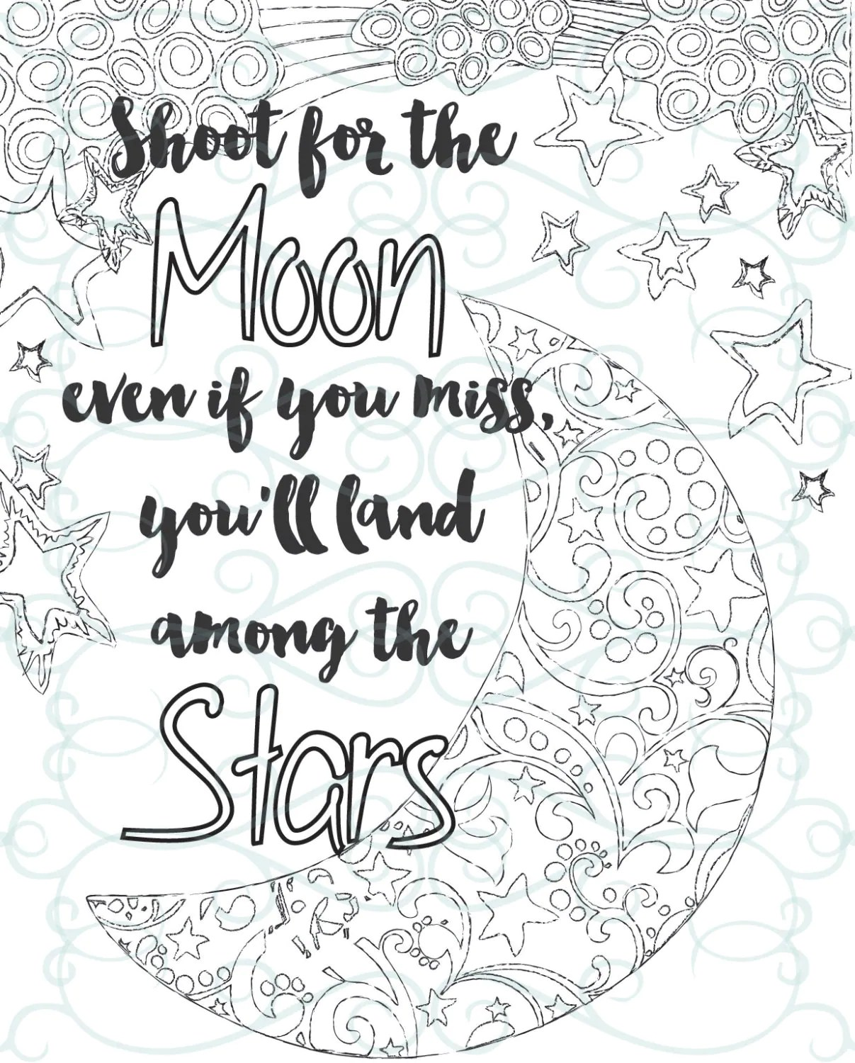 Adult Inspirational Coloring Page printable 04-Shoot for the | free printable coloring pages for adults inspirational quotes