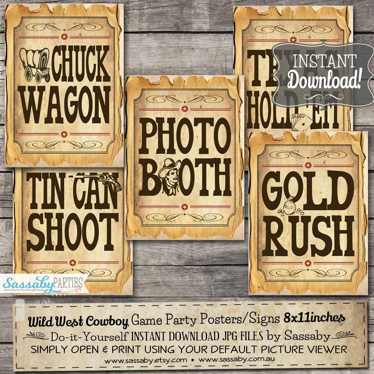 30 Cowboy Game Signs Party Posters Instant Download Wild