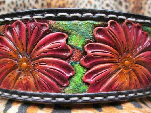 Flower dog collar, Leathe...